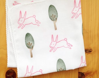 rabbit cotton hankie | woodland handkerchief | japanese hand towel | party napkin | hand stamped nose wipe | birthday eco friendly gifts
