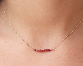 Rose Gold Necklace Ruby Necklace  Bar Necklace  Genuine Red Ruby  Dainty Necklace  Delicate Necklace - Chain Necklace beaded Necklace