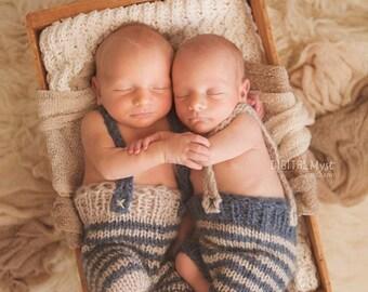 SET Twins Newborn twins pants Newborn knit Photo prop pants Baby twins pants