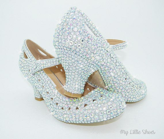 Ballroom Rhinestone Cinderella Bridal low heels Shoes ~ Bride Pageant Bridesmaid ~ Mary block Shoes Girl Flower Wedding Jane Prom SAw4fTAqn