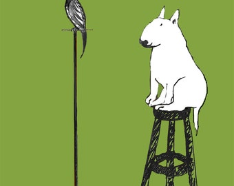 English Bull Terrier with Parrot Greeting Card - Parrot!