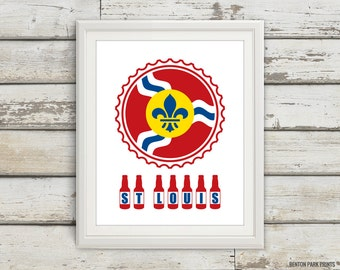 St Louis Beer Print, St Louis Beer, St Louis Skyline, STL, St Louis Print, St Louis Poster, St Louis Art, St Louis Flag, 6 Sizes!