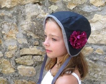 Hat black cap and purple flower child
