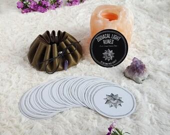 Tarot Deck, Oracle Deck, Tarot Cards, Tarot Card Deck, Oracle Cards, Rune Cards, Round Oracle Cards, Viking Runes, Zodiacal Light Runes