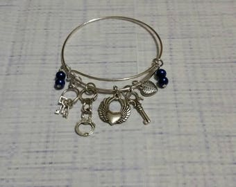 Gift for police officer, law enforcement jewelry, silver metal bangle, charm bracelet, charm bangle, expandable bangle, memorial jewelry