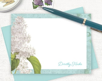 personalized note cards - GRANDMA'S LILACS in AQUA - set of 12 flat cards - stationery - custom stationary