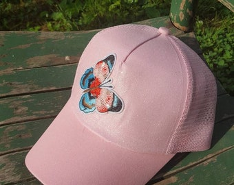 Messy bun high ponytail baseball trucker pink glitter butterfly  sequin and embroidered patch CC baseball cap festival mesh tumblr aesthetic