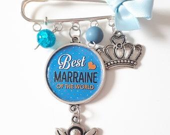 Cabochon best godmother-godmother gift brooch