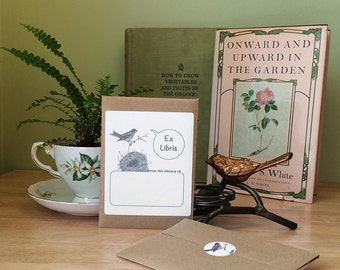 Bird book plate stickers. Ex Libris bird nest bookplates, set of 17 plus envelope. Personalized gift. Custom printing option.