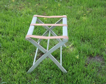 Vintage Folding LUGGAGE RACK for your Bed and Breakfast Retro Canvas and Wood Suitcase Rack 1950s 60s