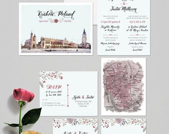 Krakow Poland Destination wedding invitation Polish Eastern European wedding invitation RSVP Illustrated invitation - Deposit Payment