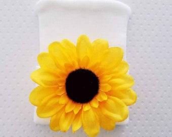 Sunflower Newborn Hospital Hat -baby girl sunflower hat-sunflower beanie-newborn sunflower hat-infant sunflower beanie