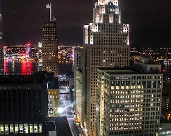 Detroit Skyline at Night Vertical Fine Art Photograph on Metallic Paper