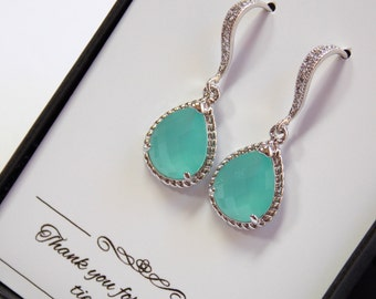 Blue Mint Earrings, Bridesmaid Earrings, Mint Wedding Jewelry, Seafoam, Dangle, Cubic Zirconia, Silver, Aqua, Green Mint, Bridesmaid Jewelry