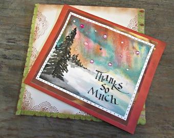 Northern Lights Card, Aurora Borealis Card, Thank You Card, Thanks So much Card, Beautiful Thank You Card, Appreciation Card, Thanks