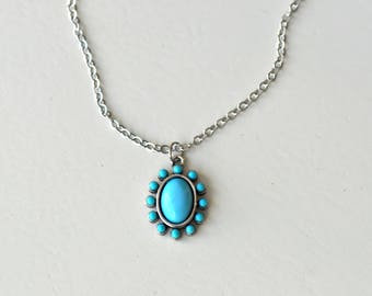 Turquoise and Silver Pendant Necklace- Turquoise Pendant Necklace- Turquoise Necklace- Boho Necklace- Boho Jewelry- Gift for Her