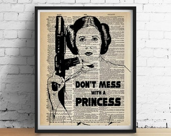 PRINCESS LEIA Star Wars Print, Don't Mess with a Princess Poster, Inspirational Quote Wall Art, Vintage Star Wars Poster, Girls Dorm Decor