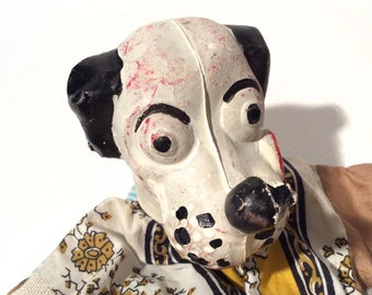 Vintage 1930s/1940s Dog Hand Puppet with Plaster/Chalk Head? Handmade Body