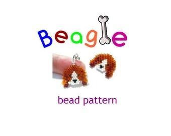 Beagle Charm Bead Pattern, Brick Stitch Beading, Cute Dog Animal