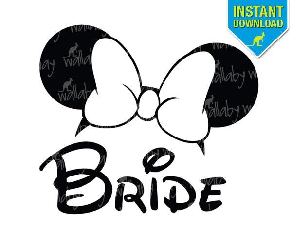 disney wedding bride minnie ears printable iron on transfer or rh etsy com