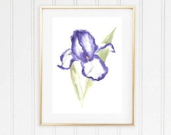 Violet Flower watercolor print, Wall Art Purple Iris, Flower Watercolor Painting, Iris watercolor print, Wall Art Purple Iris, Iris Painting
