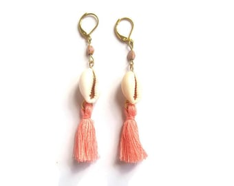 Shell and coral tassel earrings