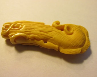 """Carved Bone Pendant of Chinese Mystical Dragon, 2 1/2"""""""