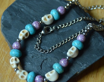 Dia de los Muertos Skull Necklace with Purple and Turquoise Beads on Stainless Steel Chain