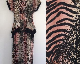 Vintage Peplum Mixed Animal Print Dress M
