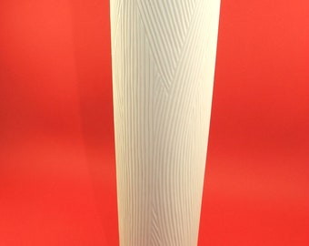 Mid-Century OP ART Rosenthal  bisque white unglazed porcelain vase shifted fine rills   Rosenthal Germany