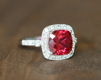 Vintage Inspired Ruby Halo Ring in 14k White Gold Cushion Cut Ruby Engagement Ring July Birthstone Gemstone Ring, Size 7 (Resizable)