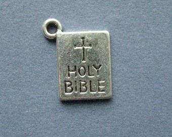 10 Bible Charms - Bible Pendants - Bible - Religious Charm - Antique Silver - 14mm x 11mm  -- (No.15-11175)