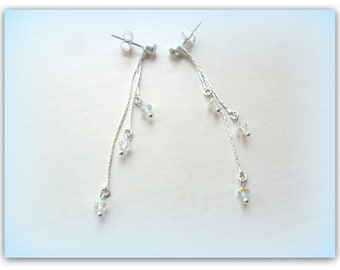 Matte Light Silver Fine Chain Swarovski Crystal Earrings Crystal Dangle Earrings ETSY UK Shop Silver Snake Chain Long Clear AB Crystal