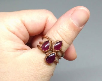 Teardrop Ring - Electroformed Garnet Ring - Boho Ring - Stacking Ring - Garnet Ring - January Birthstone - Garnet Jewelry - Copper Ring