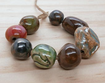 Stoneware Ceramic Multi Color Beads Red Green Handmade Pottery