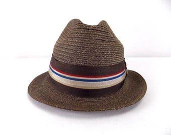 Stetson Straw Fedora Hat 7 1/8 Brown