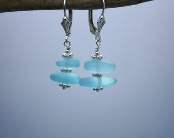 Aqua Sea Glass Earrings, Seaglass Earrings Beach Glass Earrings Sea Glass Jewelry Seaglass Jewelry Ocean Jewelry Hawaiian Jewelry Hawaii 073