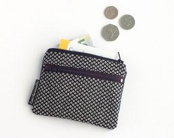 Monedero doble cremallera, monedero de tela, monedero pequeño