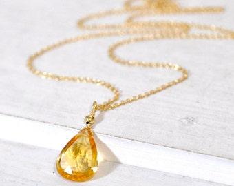 Citrine Necklace in Silver or Gold, November Birthstone, Tear Drop Citrine Pendant, Citrine Jewellery, Citrine Birthstone Necklace, Jewelry