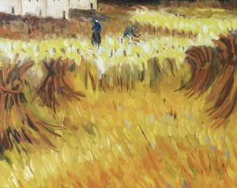 oil painting // landscape wheatfield arles // artistic work of art // hand-painted van gogh art contemporary interpretation