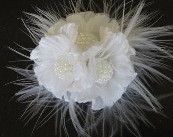White Bridal  Flower Hair Clip- Wedding Hair Clip - Wedding Accessory-Bridal Hair Clip