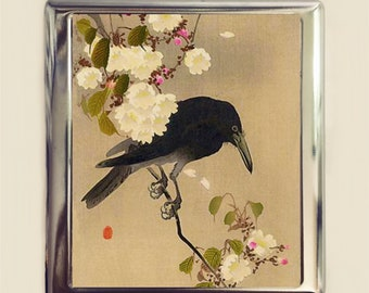 Crow Cherry Blossom Cigarette Case Business Card ID Holder Wallet Japanese Woodblock Sakura Japan Asian Art