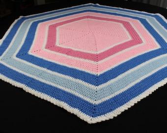 Crochet Baby Blanket, Pink and Blue Hexagon, Baby Girl Blanket, Baby Blanket Handmade, Baby Shower Gift