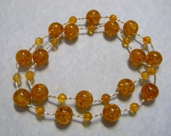 Amber and Silver Twist Tube Necklace