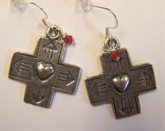 Earrings Cross with Heart and Red Crystal Jewelry OOAK