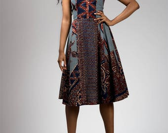 Blue Red Print ALine Bias Dress with Floral Pins