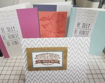 Set of 4 A6 size, blank friendship/encouragement notecards, with envelopes