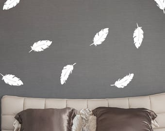 Feather Wall Decal, Tribal Decor, Feather Sticker, Birds Decal, Bird Feather, Vinyl Feathers, Feather Decor, Feather Decorations, D00610