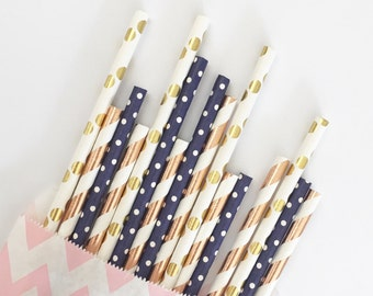 Gold&Rose Gold straw mix//paper straws, straws, party supplies, party decorations, birthday party, wedding shower, baby shower, rose gold