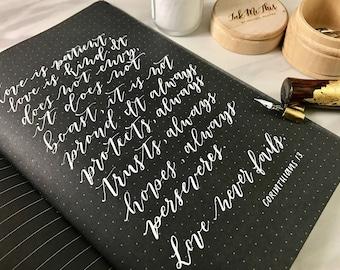 Black Paper Dot Journal, Calligraphy Journal, Hand Lettering Notebook, Calligraphy Dot Paper, Dot Pad